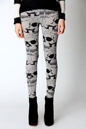 Matilda Large Gothic Skull Print Leggings    Alexandra McQueen style by Boohoo