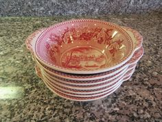 Set of 7 Johnson Brothers (England) Historic America red transfer ware on white…