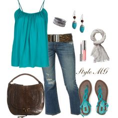 """Aqua and dark brown for summer"" by romigr99 on Polyvore"