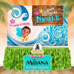 Moana Backdrop  Moana Printable Backdrop  Moana Decorations