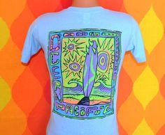 vintage 80s t-shirt OP ocean pacific neon california surf t-shirt Small XS blue soft