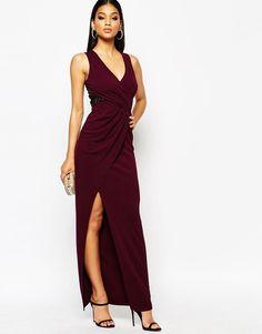 Lipsy | Lipsy Wrap Front Slinky Maxi Dress at ASOS