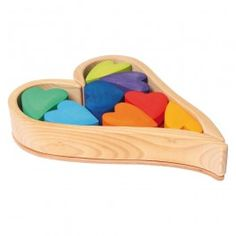 A unique and beautiful gift for Valentine's Day! Wooden Rainbow Heart Blocks made in Germany. From www.bellalunatoys.com $49.95
