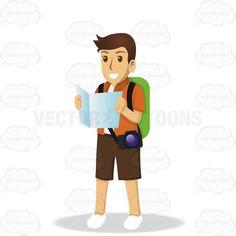 Male Tourist Holding A Map And Wearing A Backpack And Camera #backpack #camera #excursion #excursionist #globetrotter #journeyer #male #maletourist #map #sightseer #stranger #tourist #travel #visit #visiting #visitor #voyager #wayfarer