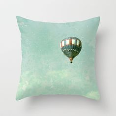 Vintage Red, White, and Blue Hot Air Balloon on Robin's Egg Blue Throw Pillow by Brooke Ryan Photography - $20.00