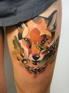 Fox illustration color tattoo