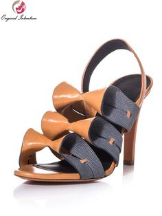 Original Intention Stylish Women Sandals Sexy Spike Heels Sandals High-quality Brown Nice Shoes Woman Plus US Size 4-15