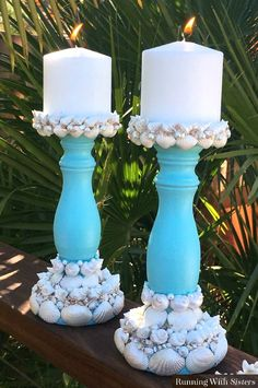 DIY Sea Shell Candle Holders... http://www.completely-coastal.com/2017/05/cover-candle-holders-with-sea-shells.html Paint simple wood candle holders and embelish them with seashells from the beach! Check out all these shell candle stick ideas...