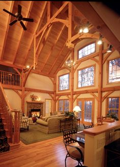 Rustic residence with wood ceiling and hammer beam trusses.