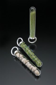 "Landscape Sample rings (in test tubes)  2007  sterling silver, glass, model railroad landscape materials—""bush,"" ""field grass,"" ""talus"" each approx. 4"" x 1""x  .5""  one-of-a-kind  private collection"