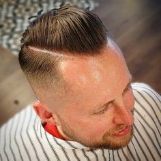 """Disco Dave .. Popped into the Malvern Parlour for a razored """"Boogie"""" and finished off with his favourite @suavecitopomade .. Good to catch up .. And #StaySharp Pal .. .. #Barbertown #barbertownworcs #barber #Barberlife #barberlove #barbershop #barbershopconnect #suavecito #reuzel #hairbond #pomade #pomp #scumbag #boogie #pinup #passion #tattoo #ink #straightedge #razor #fade #1 #team by barbertownworcs"""