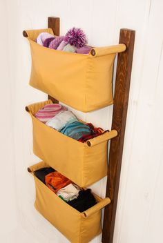 Wooden wall hanging organizer with fabric bins - solid sunny yellow colour organizing pockets