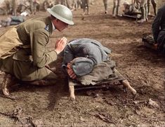 English chaplain giving last rites to dying German soldier. English Gentleman, Last Rites, King And Country, War Photography, English Men, World War, Wwii, Vikings, History