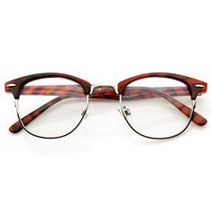 Vintage Optical RX Clear Lens Clubmaster Wayfarer Glasses 2946 Tortoise