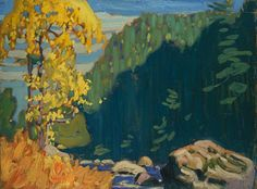 """On the Agawa River, Algoma,"" Lawren S. Harris, ca. oil on wood, x National Gallery of Canada. Tom Thomson, Group Of Seven Artists, Group Of Seven Paintings, Canadian Painters, Canadian Artists, Emily Carr Paintings, Art Inuit, Landscape Artwork, Tree Art"