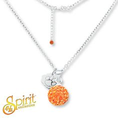 Clemson University Ball Necklace Sterling Silver