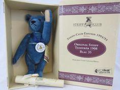 NRFB-Vintage-Ltd-Ed-Steiff-Club-TEDDY-BLUE-Teddy-Bear-COA-Tags-420047-2