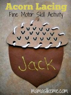 Acorn Lacing Activity - Mamas like Me #Fall #Preschool