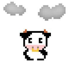 天気実況大阪曇り #pixelart #cattle #weather #osaka #ドット絵 #ウシ #天気 #大阪