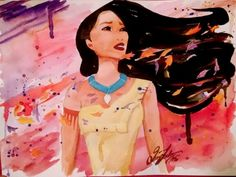 """Pocahontas watercolour. Disney fan art painting. On 9×12"""" watercolor paper. By Quinn Lockman in Design and Artwork"""