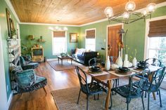 Fixer Upper Season 3 | Chip and Joanna Gaines | The Baby Blue House | Eclectic and vintage-inspired | Dining Room | Living Room | Waco, TX