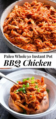 This simple Paleo and Instant Pot BBQ Chicken is packed with flavor and perfect over a sweet potato or your favorite greens! An easy homemade BBQ sauce is cooked right in with the chicken for Clean Eating Dinner, Clean Eating Recipes, Kitchen Recipes, Paleo Recipes, Rib Recipes, Easy Whole 30 Recipes, Homemade Bbq, Bbq Chicken, Cracker Chicken