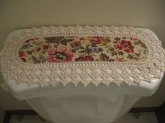 Aunt Roo's MINI Floral Paint Box Print fabric runner w/ crocheted edging for toilet tank....