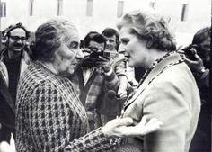 Margaret Thatcher meets Golda Meir when visiting Israel in 1976