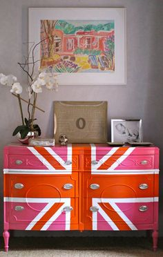 105 DIY Projects That Will Make You Proud: Instead of wallpaper, customize your own wall art with a Decoupage Ceiling. : Designer Sheridan French created this amazing Union Jack Dresser with a pink and orange twist.