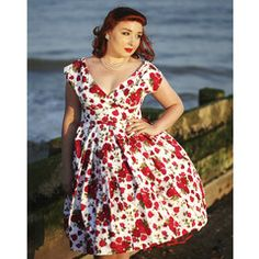 Dollydagger Red English Rose Scarlet 1950's Style Bridesmaids Dress
