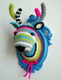 Crochet deer head in a wooden light blue frame