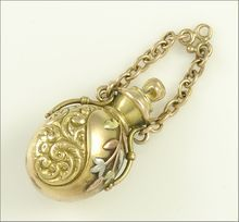 Antique Victorian 14k Yellow, Rose, and White Gold Perfume Bottle Pendant/Charm at Ruby Lane..