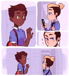 In a Heartbeat pt 1 Cute Couple Comics, Couples Comics, Cute Comics, Pretty Art, Cute Art, Lgbt Love, Cute Gay Couples, Gay Art, Fujoshi
