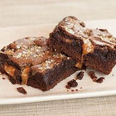 Sea Salt Caramel Brownies Allrecipes.com      1 package fudge brownie mix      Eggs      Vegetable oil      Water      20 individually wrapped caramels      2 tablespoons milk      1 teaspoon Morton® Coarse Sea Salt