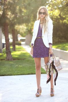 dress-c/o Parker, blazer-Zara, shoes-Miu Miu, bag-c/o Rebecca Minkoff, scarf-H, necklace-Threadsence, bracelets-Tory Burch, vintage, sunglasses-Elizabeth & James, belt-JewelMint (image: lateafternoon)