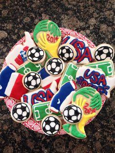 World Cup soccer cookies, Futbol cookies, USA soccer cookies