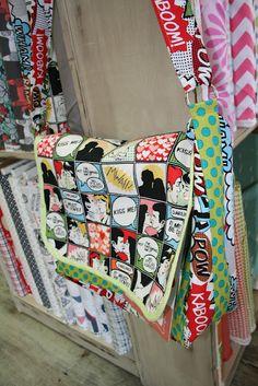 QUILT BARN: Comic Book Messenger Bag  I love it....
