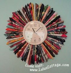 A Clock with rolled up magazine pages. You could use scrapebook pages also.This is really a neat and easy DIY. This could add a POP of wow!!