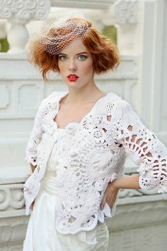 White Freeform Crochet Wedding Bolero /Special Occasion Shrug.  Etsy.  From the front