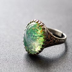 Peridot Green Glass Opal Ring. Vintage glass on by ElvesGarden