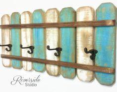 XL Rustic Wood Coat Rack Nautical Blue / OOAK von RiversideStudioON