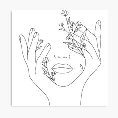 'Growth' Canvas Print by Bronte Taylor Outline Art, Outline Drawings, Art Drawings Sketches, Rose Outline Drawing, Simple Art Drawings, Face Outline, Flower Outline, Rose Line Art, Line Art Flowers
