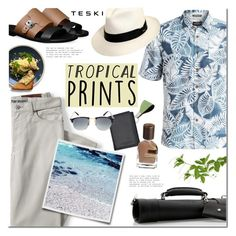"""""""Hot Tropics"""" by mada-malureanu ❤ liked on Polyvore featuring Quiksilver, Lands' End, GioBagnara, Orto Parisi, Scala, Persol, men's fashion, menswear, Leather and tropicalprints"""