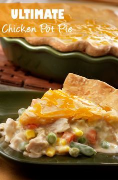 Ultimate Chicken Pot Pie Recipe - Using convenience products like canned soup, cooked chicken, frozen veggies and refrigerated pie crusts make this comfort food classic a cinch to prepare. Its chock full of flavor and ready in just 50 minutes. Tortellini, Crockpot, How To Cook Chicken, Cooked Chicken, Cheesy Chicken, Easy Chicken Pot Pie, Chicken Broccoli, Chicken Recipes That Freeze Well, Rotisserie Chicken