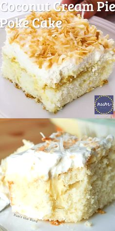 *VIDEO* Coconut Cream Pie Poke cake is a traditional cake topped with my favorite old fashioned coconut cream pie filling, whipped cream and toasted coconut. The best of both worlds! Coconut Poke Cakes, Coconut Desserts, Coconut Recipes, Just Desserts, Baking Recipes, Coconut Cheesecake, Coconut Cream Cakes, Easy Coconut Cream Pie, Coconut Cake Easy