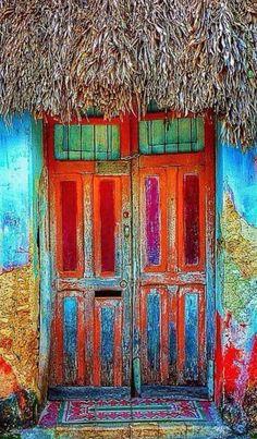 """""""It's doors I'm afraid of because I can't see through them, it's the door opening by itself in the wind I'm afraid of."""" - Margaret Atwood - Baca, Yucatán, Mexico (I ain't afraid of no door) Cool Doors, Unique Doors, When One Door Closes, Door Gate, Painted Doors, Door Knockers, Doorway, Architecture, Stairways"""