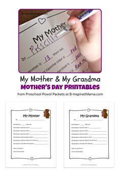 free mothers day printables for kids all about my mom and my grandma a sweet and super easy gift idea for any mother or grandmother from her kids or