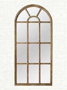 "36"" X 78"" Teak Arched Window Pane Mirror"