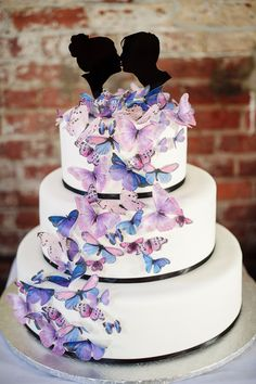 wedding cake with sugar butterflies // photo by Paper Antler // cake by Sugar Coated Bakery // butterflies by Sugar Robot