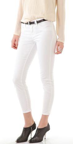 white Skinny Capri Jeans